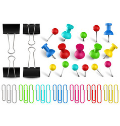 colorful pushpins and paperclips binders color vector image
