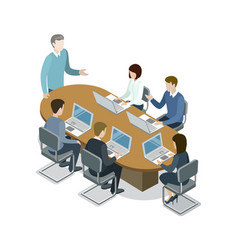 Company business meeting isometric 3d icon vector