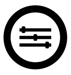 control panel icon black color in circle vector image