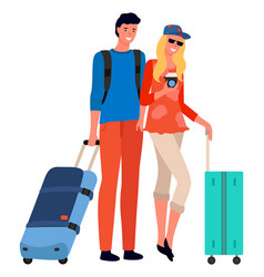 couple tourists with suitcase and camera vector image