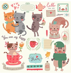 Cute cat set vector