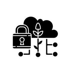 data security in agriculture black glyph icon vector image