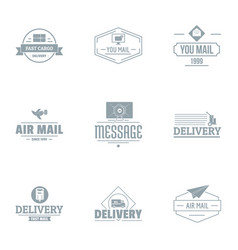 Delivery logo set simple style vector
