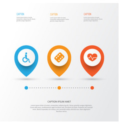 drug icons set collection of remedy handicapped vector image vector image