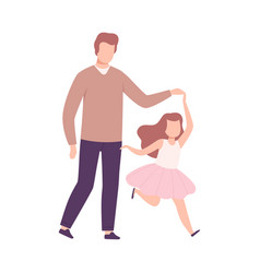 Father and his daughter walking holding hands vector