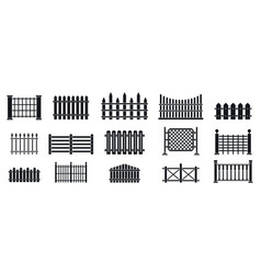 Fence icons set simple style vector