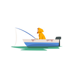 fisherman fishing with rod in motor boat fishman vector image
