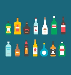 Flat design alcohol bottles collection vector