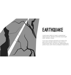 Flat horizontal template with earthquake damaged vector