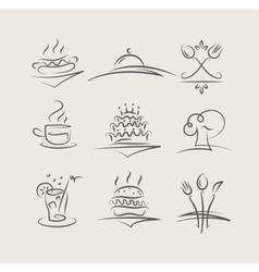 Food and utensils set vector