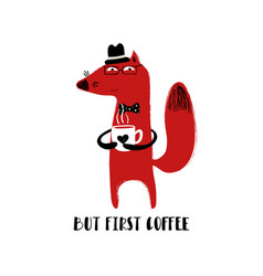 Fox holding a cup of coffee vector
