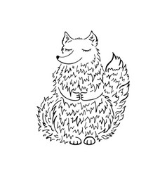 fox sketch funny cartoon hand drawn vector image