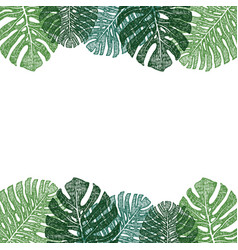 Frame of green monstera leaves hand drawing vector
