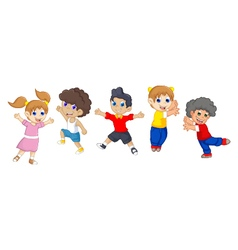 Funny children cartoon jumping vector