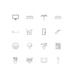 furniture and home accents linear thin icons set vector image