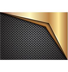 Gold arrow on dark gray metallic circle mesh vector