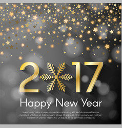 Golden new year 2017 concept on grey blurry vector