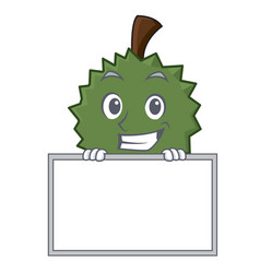 Grinning with board durian character cartoon style vector