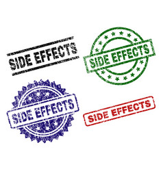 Grunge textured side effects seal stamps vector