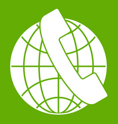 handset and globe icon green vector image