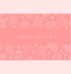 happy easter pink background with ornamental eggs vector image