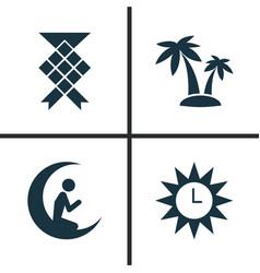Holiday icons set collection of man with moon vector