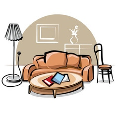 Interior with sofa vector