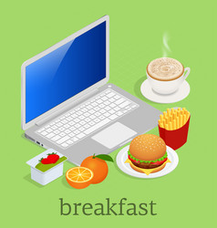 isometric having breakfast in front of computer on vector image