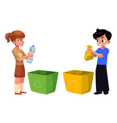 kids children throw plastic bottles in trash vector image