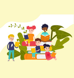 kids read books on piles huge books education vector image
