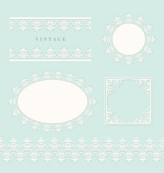 Lace decorative frame and border set on pastel vector