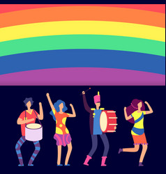 lgbt banner rainbow and cartoon character people vector image