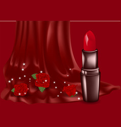 lipstick and roses vector image