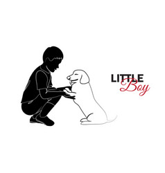 little child baby little boy playing with puppy vector image