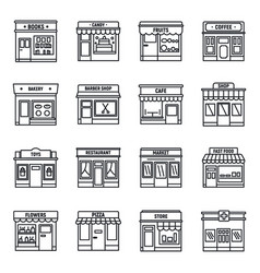 Local business store icons set outline style vector
