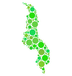 malawi map composition of dots vector image