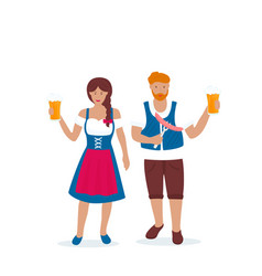 Man and woman in traditional german costumes vector