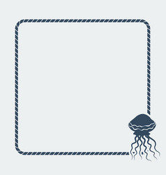 marine background sea rope frame with jellyfish vector image