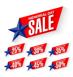 Memorial day sale discount labels vector