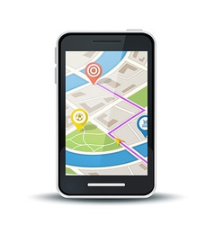 Mobile phone with gps map application vector