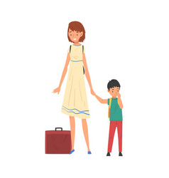 Mother and her son travelling together on vacation vector