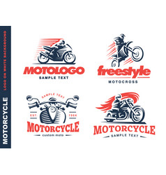 Motorcycle shield emblem logo design vector