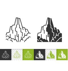 mountain climbing simple black line icon vector image