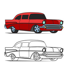 muscle car cartoon classic poster and for vector image