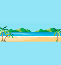 Nature scene with coconut trees on the beach vector