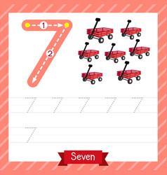 Number 7 transportation tracing worksheet vector