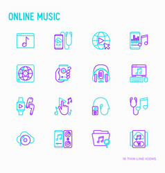 online music thin line icons set vector image