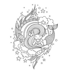 Portrait of dreamy lying mermaid with long hair vector