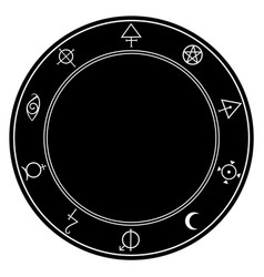 round frame with alchemical magic symbols around vector image