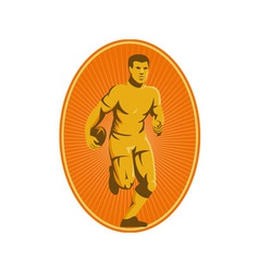 Rugby player running passing the ball vector